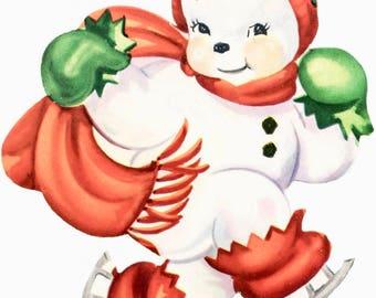 Skating Snowman Art Fabric Block Doodaba