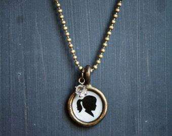 custom silhouette portrait necklace . small size . personalized cameo pendant .