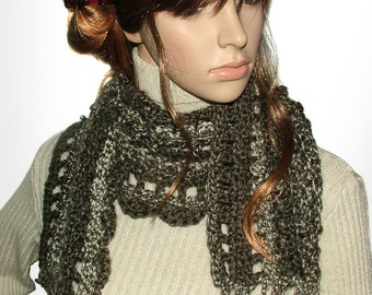 Unisex Crochet Scarf, Taupe Brown Chunky, Super Soft Crochet Scarf, OOAK scarf