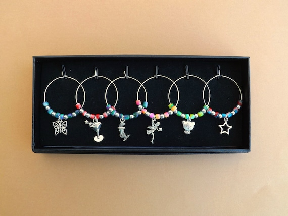 Girlie Mixed Colors Themed Wine Glass Charms Set of 6 Gift Boxed or in Gift Bag Champage Glass Decor by Kate Dengra Made to Order