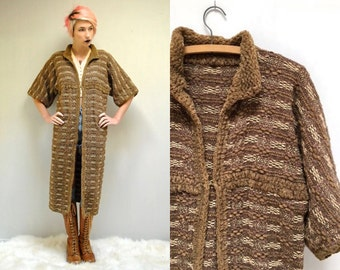 70s Chenille Wool Sweater  //  Long Sweater Cardigan  //  Duster Coat  //  THE BRAMAS