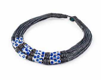 Choker necklace trade beads, African tribal necklace