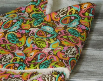 the PEANUT POD baby swaddle - a wrap blanket swaddler for newborn to 3 months - Super Soft & Cozy - Ready To Ship - Precious Paisley
