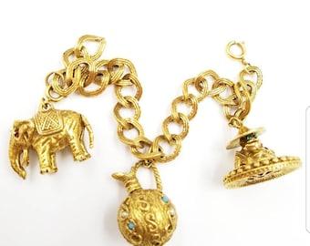 Vintage Antiqued Gold Asian Theme Charm Bracelet with Big Chunky Charms, Buddha Charm, Elephant Charm, Water Pitcher Charm, Detachable Charm