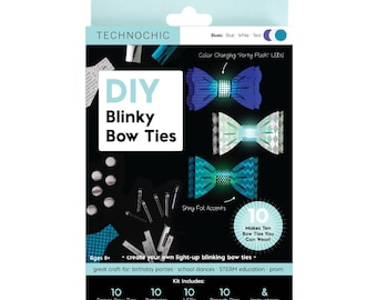 TechnoChic DIY Blinky Bow Ties Kit - Blues - Tech-Craft kit for STEAM, parties, formal events, DIY light-up bow ties are cool!