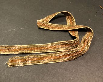 antique French steel cut beaded ribbon gold  metal  diamond facetes  Incredible sparkle 16 inch