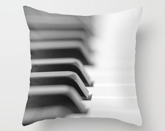 Piano Keys Pillow Cover, Music Instrument Cushion, Gift for Artists, Pianist, Musician, Black and White Man Cave Decor, Recording Studio