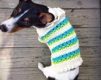 Crochet Dog Sweater Husky Little Dog Unique Handmade White Sweater Crochet Flowers Hand Knitted Puppy Sweater