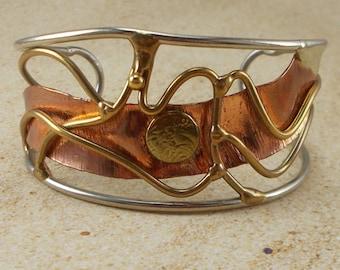 Artisan Copper and Brass Wirework Cuff Bracelet   5648