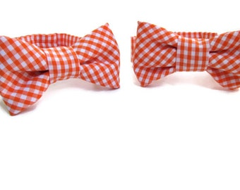 Orange Gingham Bow Ties for Twins Newborn Photo Prop to Toddler Boy Photography Prop - Twins Baby Gifts - Newborn Twin Boys - Ready to Ship