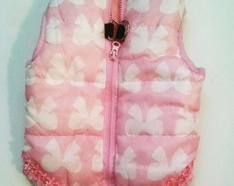 Harness coat Dog Coat Pink with Bows.