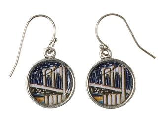 Brooklyn Bridge Earrings. Lovingly Handmade in Brooklyn by Wishing Well Studio.