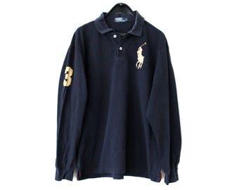 90's Polo Ralph Lauren Sweatshirt Blue Gold Polo Sport Shirt RL Polo Sweater Vintage Ralph Lauren Sport TShirt Embroidered Polo Shirt Size L