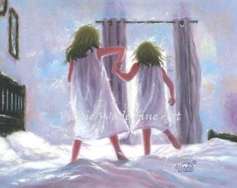Two Sisters Jumping On the Bed Art Print, girls bedroom pink wall art blue, sandy brown hair, two girls, Vickie Wade art, loving sisters