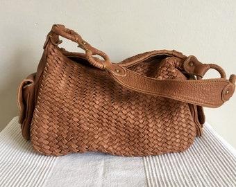 Vintage Cole Haan Brown Leather Hobo Style Shoulder Bag Purse