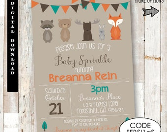 Woodland Forest Friends Baby Sprinkle Invitation. Woodland Baby Sprinkle Invitation.Forest Animals Baby Sprinkle Invitation. Baby Sprinkle