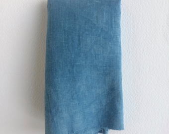 Naturally Dyed Indigo 100% organic linen cloth (12 inches x 12 inches)