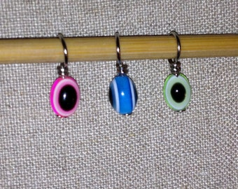 Evil Eye Multi-colored acrylic bead stitch markers for knitting