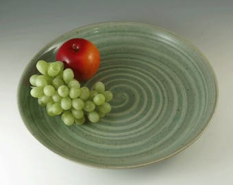 Green Dinner Plate - Serving Plate- Pottery Plate - Ceramic Cheese Plate - Handmade Plate - Pottery Dish - Green Pottery Plate - P114