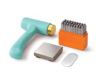ImpressArt UPPERCASE BASIC Metal Stamping Kit, Sans Serif 3mm Upper Case Alphabet Stamps, Hammer, Steel Bench Block, Blanks, Metal Stamp Set
