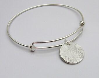 Fingerprint Bracelet, Fingerprint Bangle, Fingerprint Jewelry,  Fingerprint Charm, Bangle Bracelet, Expandable Wire Bangle, Gift for Her