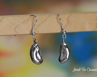 Sterling Silver Bean Earrings Fishhook Earwires Solid .925 Dried Beans