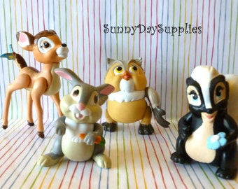 McDonalds Happy MealToys, Bambi, Thumper, Owl and Flower, 1988,  Skunk, Rabbit, Miniature Animals, Vintage Toys and gifts for kids