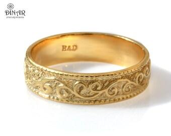 Wedding ring, 18k yellow gold Wedding Band, 6mm gold ring, Art Deco scrolls wedding ring band, gold ring for men and women, vintage design