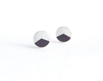 Black white stud earrings geometric post earrings hypoallergenic studs casual stud earrings surgical steel