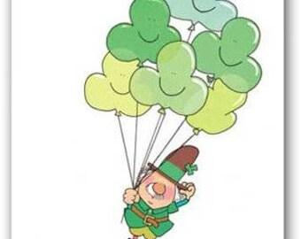 Clover Balloons St. Patricks' Day Card Set - 18 Cards & 19 Envelopes - 16104b