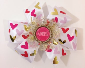 Multicolored Hearts Pinwheel Bow With Bottlecap Embelishment
