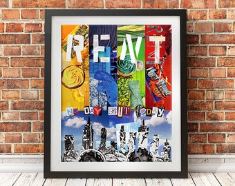 Rent Musical, No day but today, Mother's day gift, Bohemian Decor, Wall Art, Mixed Media Collage Art, unique gift
