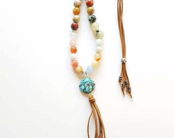 Suede and bead boho necklace/Turquoise necklace/Tassel necklace/Hippie jewelry