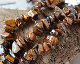 """Med-Large Tigereye Chip Beads 15"""" Strand Golden Shimmery Brown Natural Gemstone Tiger Eye Beads with Cat's Eye Effect"""