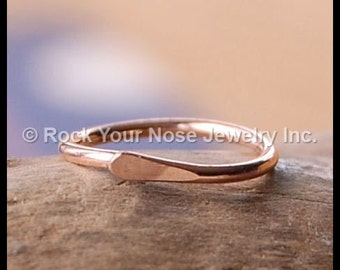 Rose Gold Filled Nose Ring / Tiny Dainty Nose Ring / Unique Nose Ring / Thin Nose Ring /Hammered Style Nose Ring - CUSTOMIZE