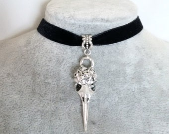Necklace - Choker - Skull Necklace - Bird Skull Velvet Choker - Gothic Choker - Steampunk Choker - Rock Chick -