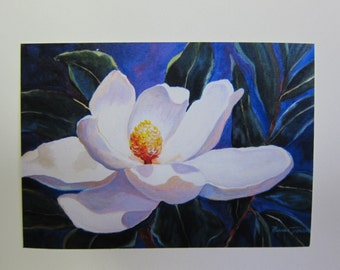 Midnight Magnolia ACEO watercolor print 723 flower blue 2.5 x 3.5 Art Card collectible