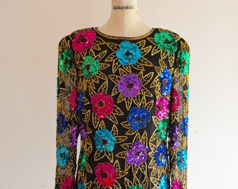 Vintage Sequined and Beaded Multicolor Floral ROSES Silk Blouse Dress Top Street Style Runway