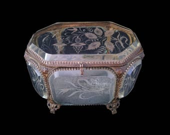Antique French Engraved Glass Ormolu Casket, Large Romantic Jewellery Box, Hand-Engraved Flowers, 1800s Display Case, Home Decor, Love Token