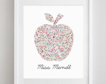 Customized Teacher Appreciation Gift - Apple Floral Watercolor Print