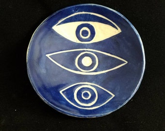 Third Eye Eye of Providence Blue and White Witch Altar Trinket Ring Dish