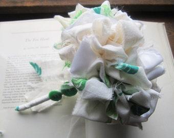 Vintage Fabric Flower Bouquet * Bridesmaid Bouquet * Flour Sack Material * Wedding Bouquet 1940's 50's