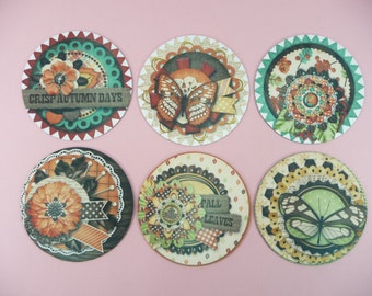 COASTERS ROUND Fall Autumn Earth Tone Colors Set of 6 Holiday Home Decor Neoprene Fabric Rubber Back Makes a Great Gift