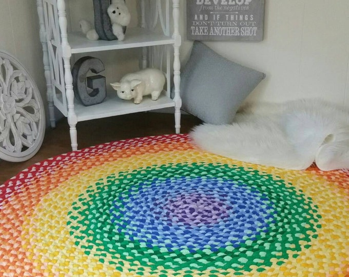 rainbow medallion select a size across round NEW Rainbow Rug braided from new and recycled t shirt