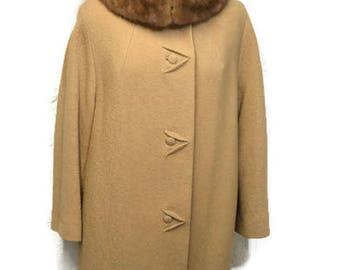 50's Camel Wool Coat with Stand Up Blonde Mink Collar