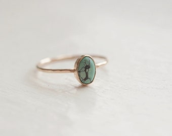 Turquoise Dot Ring Solid 14k Recycled Gold