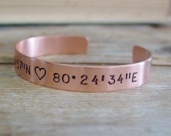 Wife Copper 7th Anniversary Gift, Custom Latitude Longitude & Date Bracelet, Hand Stamped Coordinate Copper Jewelry, Coordinate Cuff