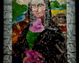 Mona Lisa- made with soda pop cans, artist's rendition of Leonardo DaVinci painting, Aluminum Can Art, Recycled Art