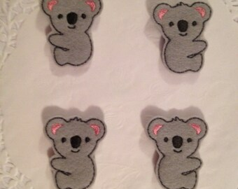 Cute Gray Felt Koala Embroidered Applique