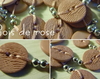 Rosewood - long necklace made of buttons